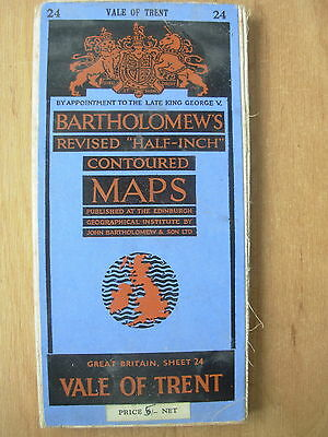 Vintage Bartholomews Contoured Map Sheet 24 Vale Of Trent Cloth Edition