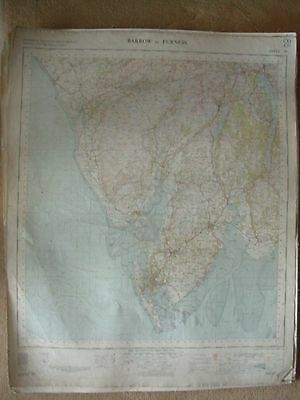 BARROW IN FURNESS LARGE OS WALL MAP 1in LINEN BACKED 1955