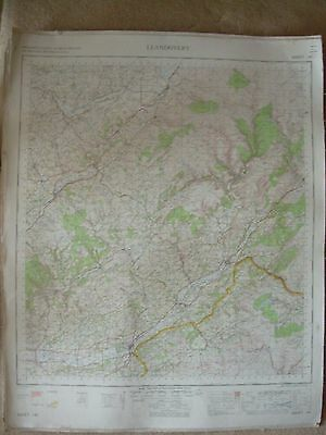 LLANDOVERY LARGE OS WALL MAP 1in LINEN BACKED 1967