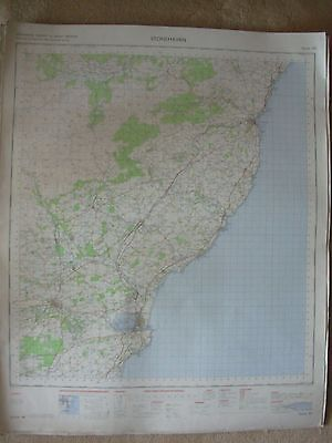 STONEHAVEN LARGE OS WALL MAP 1in LINEN BACKED 1969