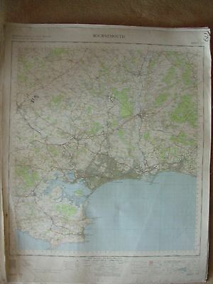 BOURNEMOUTH LARGE OS WALL MAP 1in LINEN BACKED 1960