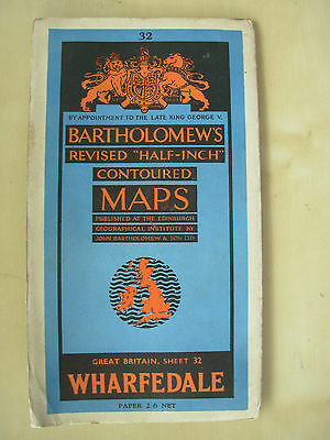 Vintage Bartholomews Contoured Map Sheet 32 Wharfedale Paper Edition