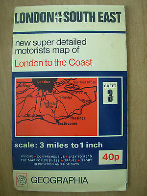 Vintage Geographia Detailed Motorist Map Sheet 3 - London And The South East