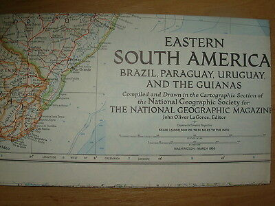 Vintage National Geographic Map 1955 Eastern South America