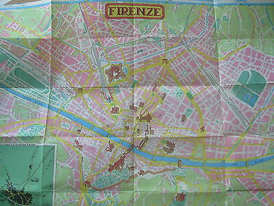 Vintage Florence Firenze Tourist Map Showing Places Of Interest