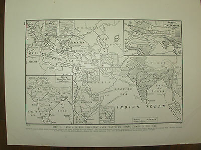 Vintage 1914 Wwi Magazine Print - Map Showing The Part Indian Troops Played