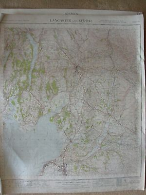 LANCASTER AND KENDAL LARGE OS WALL MAP 1in LINEN BACKED 1947