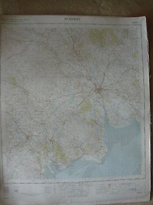 DUMFRIES LARGE OS WALL MAP 1in LINEN BACKED 1956