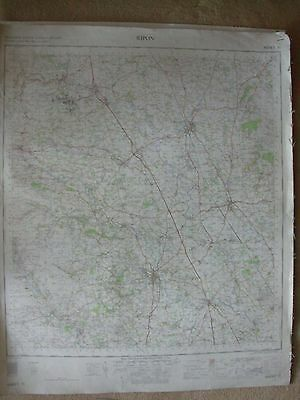 RIPON LARGE OS WALL MAP 1in LINEN BACKED 1962