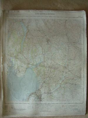 LANCASTER AND KENDAL LARGE OS WALL MAP 1in LINEN BACKED 1955