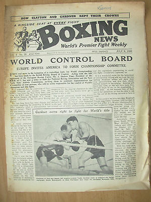VINTAGE BOXING NEWS MAGAZINE JULY 9th 1952 TEDDY GARDNER v OTELLO BELARDINELLI