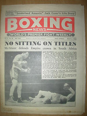 VINTAGE BOXING NEWS MAGAZINE JULY 1st 1955 ARCHIE MOORE DEFEATS CARL OLSON