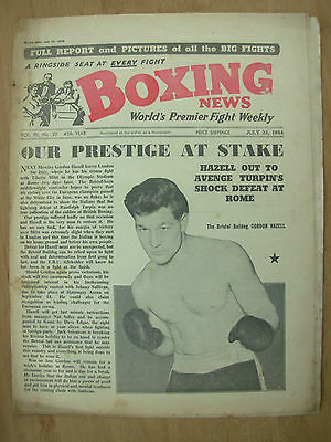 VINTAGE BOXING NEWS MAGAZINE JULY 23rd 1954 GORDON HAZELL v TIBERIO MITRI
