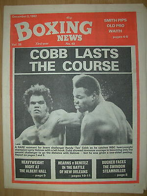 Boxing News December 3 1982 Larry Holmes Defeats Randy Cobb