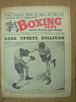 VINTAGE BOXING NEWS MAGAZINE JULY 9th 1954 JOHNNY SULLIVAN v MARTIN HANSEN
