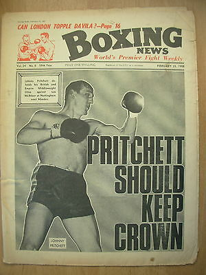 BOXING NEWS FEBRUARY 23 1968 JOHNNY PRITCHET v LES McATEER - FIGHT PREVIEW