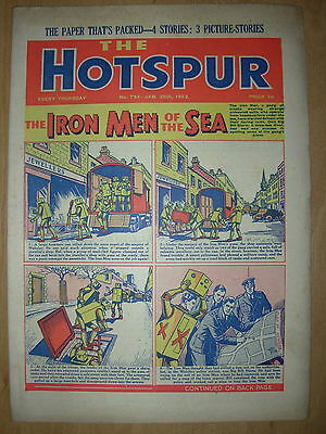 VINTAGE BOYS COMIC THE HOTSPUR No 794 JANUARY 26th 1952
