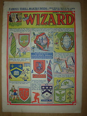 VINTAGE BOYS COMIC THE WIZARD No 1475 MAY 22nd 1954