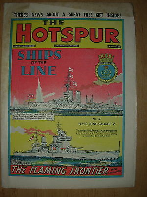 VINTAGE BOYS COMIC THE HOTSPUR No 1013 APRIL 7th 1956 H.M.S. KING GEORGE V