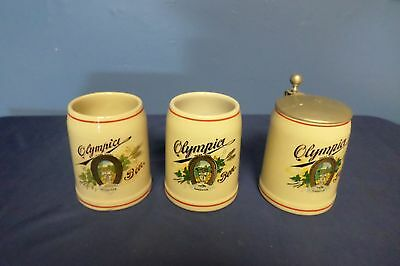 Lot of 3 Olympia Beer Mug Stein Tumwater-One with Lid Lot#62-1200