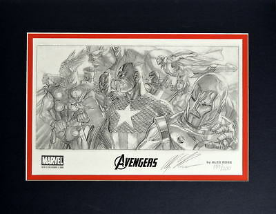 Avengers LTD ED INVINCIBLE SKETCH PRINT # 199/200 PRO MATTED Ross SDCC EXC 2014