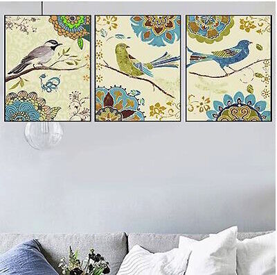 Set of Three Canvas Paint By Number Kit 3*40*50cm Birds F3P012 S4 AU STOCK