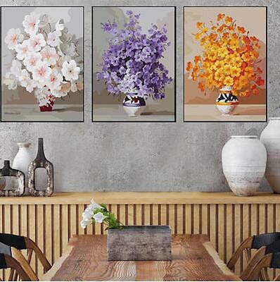 Set of Three Canvas Paint By Number Kit 3*40*50cm Flower Pot F3P020 S4 AU STOCK