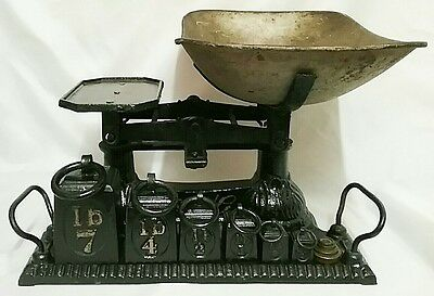 Antique Victorian Cast Iron Kitchen Scales With Weights