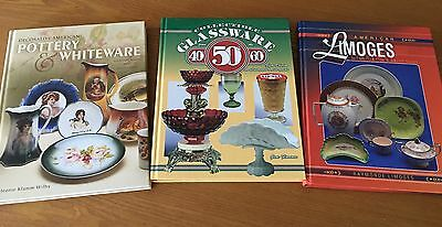 Collector Books Lot American Pottery, Glassware, Limoges China w/ Authors Signed
