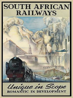 South African Railways Africa Vintage Railroad Travel Advertisement Poster Print