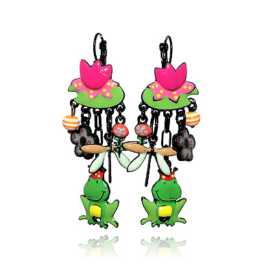 Earrings roi frog water lily green lol bijoux 2017 Paris