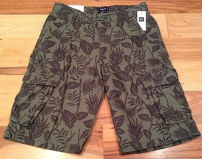Gap Kids Boys Size 7 Olive Green Tropical Cargo Shorts. Nwt