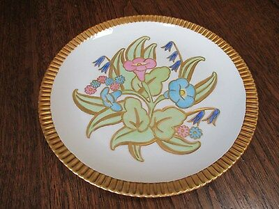 """Vtg Very Rare-Signed Syracuse China Heavy Gold Trim """"shelledge Floral"""" 10"""" Plate"""