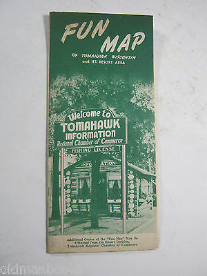 Tomahawk Wisconsin Tourist Motel Cottages Fishing Vacation Map Vintage Brochure