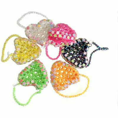 Wholesale Lot of 288 Pieces Girls Heart Shape Beaded Coin Purses With Zipper