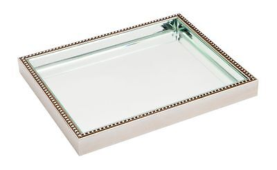 Medium Antique finish beaded frame bevelled mirror tray mirrored serving tray