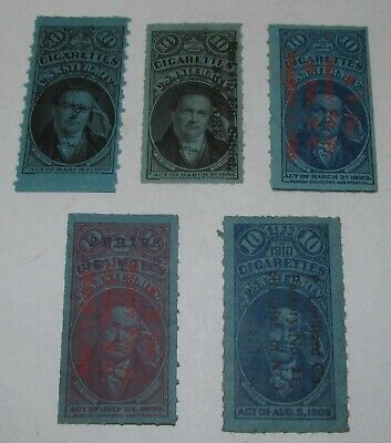 5 Tobacco Cigarettes Stamps, different series, lot #22
