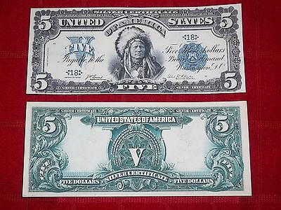 Nice Crisp 1899 $5.00 Silver Certificate  Copy Banknote Read Description!