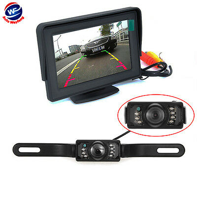 "4.3"" TFT LCD Monitor Car Rear View System Backup Reverse W/ Night Vision Camera"