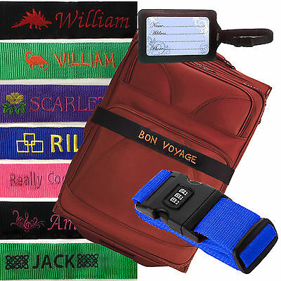 Personalised Embroidered Luggage Strap, Combination Lock with Password, bag, Tag
