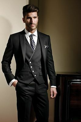 Custom Made Black Jacket+Pants+Vest Men Suit Groom Wedding Formal Tuxedos Suits