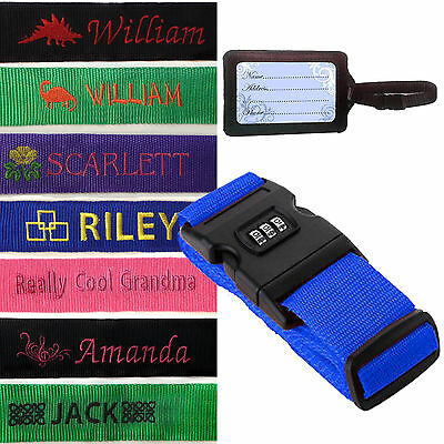 Embroidered Personalised Luggage Strap, Combination Lock with Password,Tag