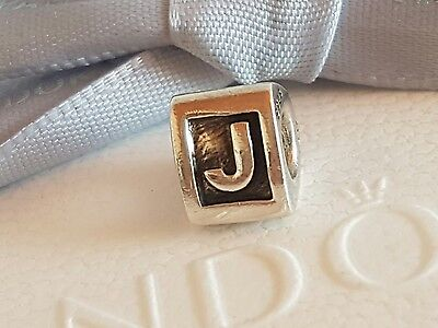 "Authentic Pandora Silver Charm ""Letter J"" - 790323J - retired"