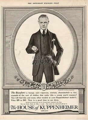 1916 Kuppenheimer Leyendecker Art Beaufort Vintage Men s Lounge Suit Clothes Ad