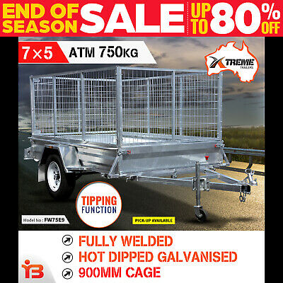 New 7x5 Full Welded Galvanised Box Trailer with 900mm Cage