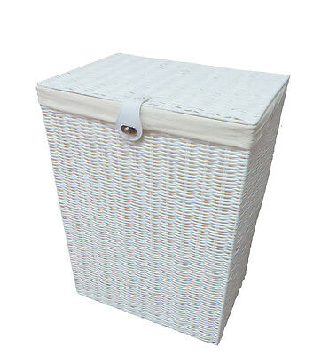 Arpan Resin Large Laundry Clothes Basket with Lid, Lock & Lining Storage - White