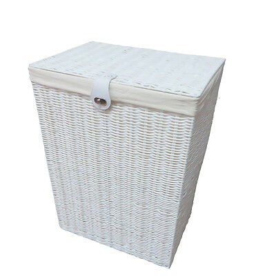 Arpan Resin Medium Laundry Clothes Basket with Lid, Lock & Lining Storage  White