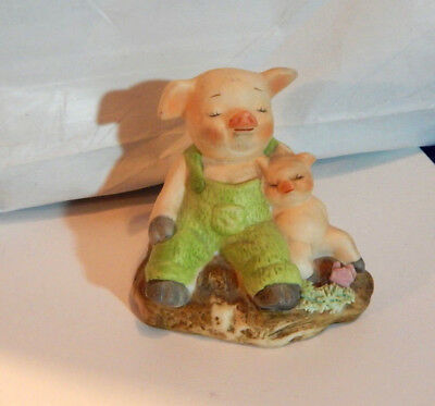 Vintage 1980'S BISQUE CERAMIC PAPA & BABY PIG HAVING THERE NAP TIME FIGURINE