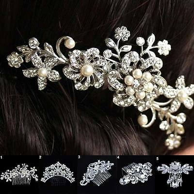Bridal Wedding Flower Crystal Rhinestones Pearls Women Hair Clip Comb Decor Chic