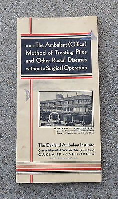 1920s Unusual Booklet promoting Oakland Ca  Ambulant Institute Piles Treatment